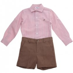 Miranda Boys Pink Stripes Shirt Brown Shorts Set