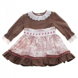 Miranda Girls Brown Ivory Dusky Pink Dress White Frills