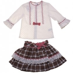 Miranda Girls Ivory Blouse Choco Brown Skirt Outfit Dusky Pink Bows
