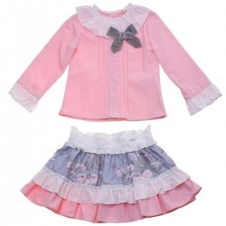 Miranda Girls Pink Blouse Blue Floral Skirt Outfit