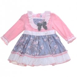 Miranda Girls Pink Blue Floral Dress Grey Bow