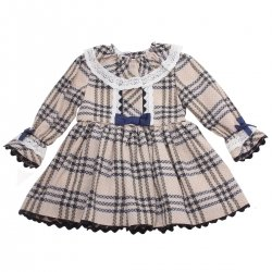 Miranda Girls Ivory Beige Check Dress Navy Bows Ivory Lace