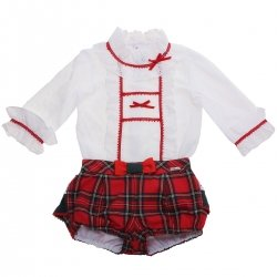 Miranda Girls White Frills Blouse Red Tartan Shorts Set