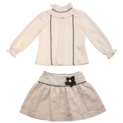 Miranda Girls Ivory Blouse Ivory Lace Tan Skirt Outfit