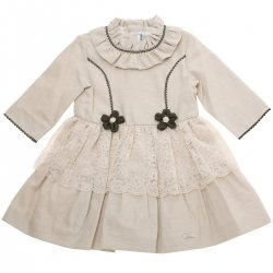 Miranda Girls Ivory Beige Dress Ivory Lace Net Black Flowers