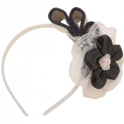 Miranda Ivory Beige Black Flowers Hairband