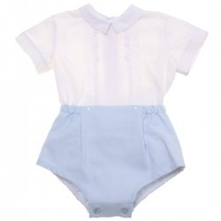 Miranda 2018 Spring Summer Baby Boys White Top Blue Shorts Set