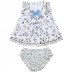 Miranda 2018 Spring Summer Baby Girls Blue Floral Dress And Panty Set