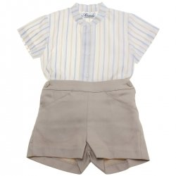 Miranda 2018 Spring Summer Baby Boys Ivory Stripes Top Tan Shorts Set
