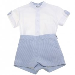 Miranda Spring Summer Baby Boys White Top Blue Stripes Shorts Outfit