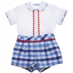 Miranda 2018 Spring Summer Baby Boys White Top Blue Gingham Shorts Red Scallop Lace Outfit