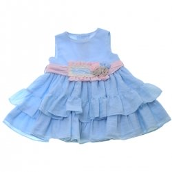Miranda 2018 Spring Summer Baby Girls Blue Ruffle Dress Pink Waistband