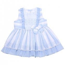 Miranda 2018 Spring Summer Baby Girls White Blue Stripes Dress