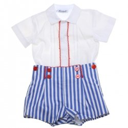 Miranda 2018 Spring Summer Baby Boys White Top Navy Stripes Shorts Red Scallop Lace