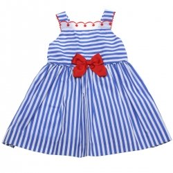 Miranda 2018 Spring Summer Baby Girls White Navy Stripes Dress
