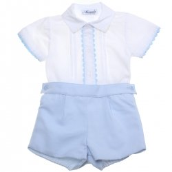 Miranda 2018 Spring Summer Baby Boys White Top Blue Shorts Blue Lace