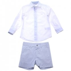 Miranda Spring Summer Boys White Shirt Blue Stripes Shorts Set