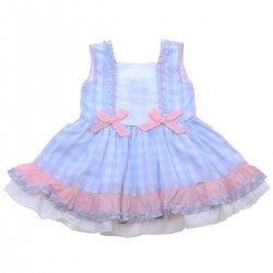 Miranda 2018 Spring Summer Girls Blue White Gingham Dress Pink Bows