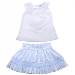 Miranda 2018 Spring Summer Girls White Top And White Blue Stripes Skirt Set