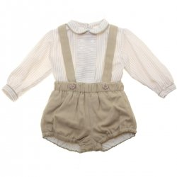 Miranda Baby Boys Ivory Brown Stripes Top And Braces Shorts Outfit