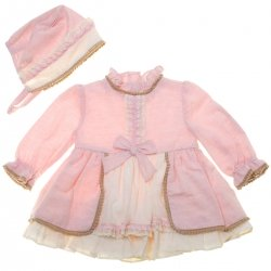Miranda 2018 Autumn Winter Bay Girls Pink Ivory Dress Bonnet Caramel Scallop Lace