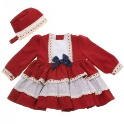 Miranda 2018 Autumn Winter Girls Burgundy Dress Bonnet Navy Bow Ivory Lace
