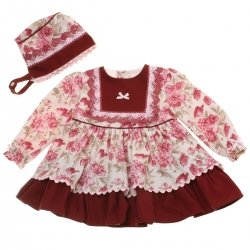 Miranda 2018 Autumn Winter Baby Girls Burgundy Floral Dress With Bonnet