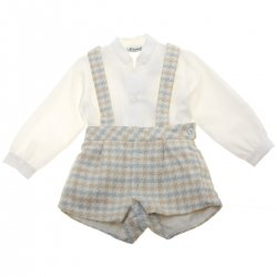 Miranda Baby Boys Ivory Shirt Blue Caramel Lace Braces Check Shorts Outfit
