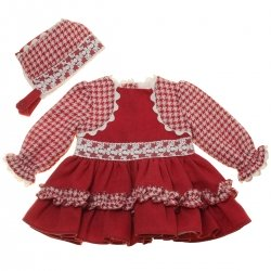 Miranda 2018 Autumn Winter Baby Girls Burgundy Ivory Bolero Dress Bonnet Ivory Lace