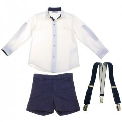 Miranda 2018 Autumn Winter Boys Off White Shirt Navy Shorts Navy Braces Set