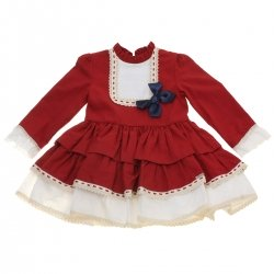 Miranda 2018 Autumn Girls Burgundy Dress Ivory Lace Navy Bow