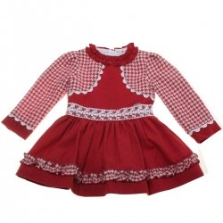 Miranda Autumn Winter Girls Burgundy Ivory Bolero Dress Ivory Lace