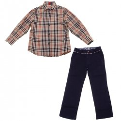 Miranda Nel Blu Autumn Winter Boys Caramel Brown Check Shirt Navy Trousers Set