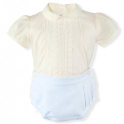 Miranda Baby Boys Ivory Top Blue Shorts Outfit Ivory Lace
