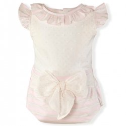 Miranda Baby Girls Ivory Pink Top Pink Stripes Ivory Bow Jam Pant Set