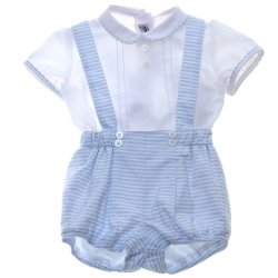Miranda Baby Boys White Top White Blue Stripes Braces Shorts Set