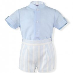 Miranda Baby Boys Blue Shirt White Blue Stripes Shorts Set