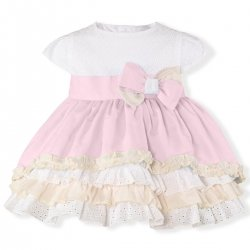 Miranda Spring Summer Baby Girls Pink White Frilly Dress