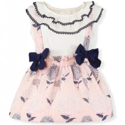 Miranda Spring Summer Baby Girls Ivory Top Pink Braces Skirt Set