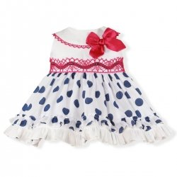 Miranda Spring Summer Baby Girls White Navy Polka Dots Dress Red Lace Bow