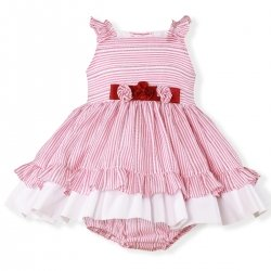 Miranda Spring Summer Baby Girls Pink White Stripes Dress Panty Set