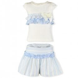 Miranda Spring Summer Girls Ivory Top Blue Shorts Skirt Outfit