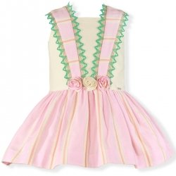 Miranda Spring Summer Girls Ivory Pink Stripes Dress Green And Caramel Lace