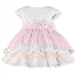 Miranda Spring Summer Girls Pink White Frilly Dress Large Bow