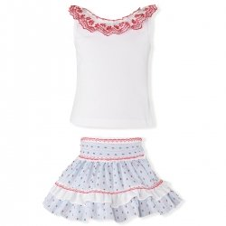 Miranda Spring Summer Girls White Top Red Lace Blue White Red Skirt Set
