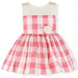 Miranda Spring Summer Girls Ivory Net Pink Gingham Dress