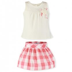 Miranda Spring Summer Girls Ivory Top Pink Gingham Skirt Set