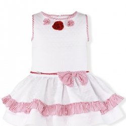 Miranda Spring Summer Girls White Red Dress Red Lace Red Flowers