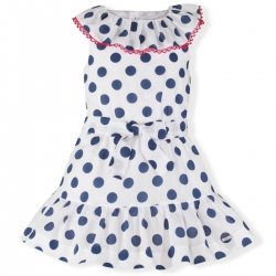 Miranda Spring Summer Girls White Navy Polka Dots Dress