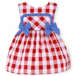 Miranda Spring Summer Baby Red Gingham Dress Blue Bows